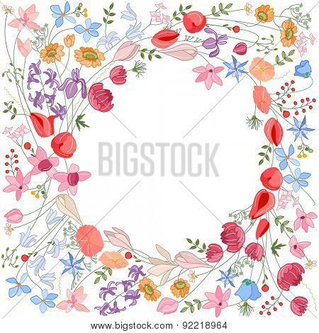 Detailed contour wreath with herbs and wild stylized flowers isolated on white. Round frame for your design, greeting cards, wedding announcements, posters.