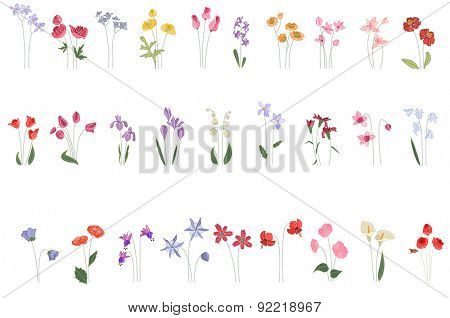 Collection of different stylized flowers on white