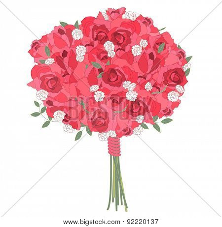 Contour stylized bunch of contour red  roses on white.