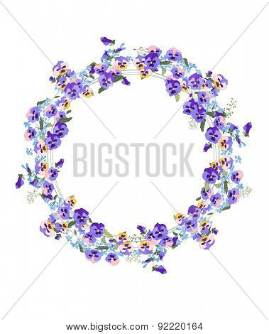 Detailed contour wreath with forget-me-nots and viola flowers isolated on white. Round frame for your design, greeting cards, announcements, posters.