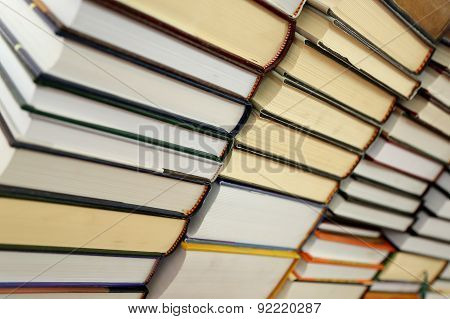 Book stack in library