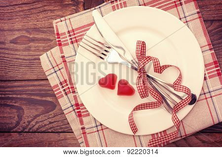 Valentine day love beautiful. Romantic dinner, tableware hearts.