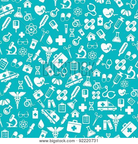 Seamless Pattern With Vector Medical Icons In Flat Style.