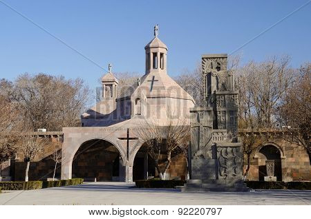 Saint Vartan Baptistery At Etchmiadzin Church And Genocide Memorial Monument In Echmiadzin, Armenia