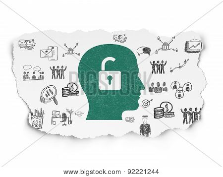 Finance concept: Head With Padlock on Torn Paper background