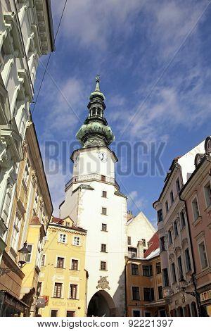 Michael's Tower (michalska Brana) And Old Town In Bratislava, Slovakia.