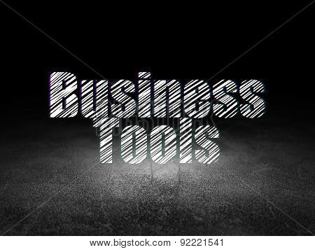 Finance concept: Business Tools in grunge dark room