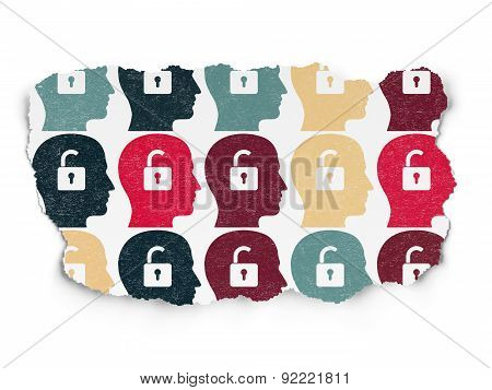 Business concept: Head With Padlock icons on Paper background