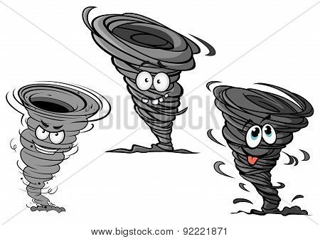 Cartoon hurricane, tornado and typhoon characters