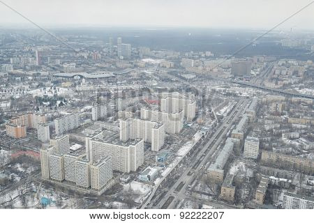 MOSCOW, RUSSIA  -  MARCH 07, 2015: View from Ostankino television tower