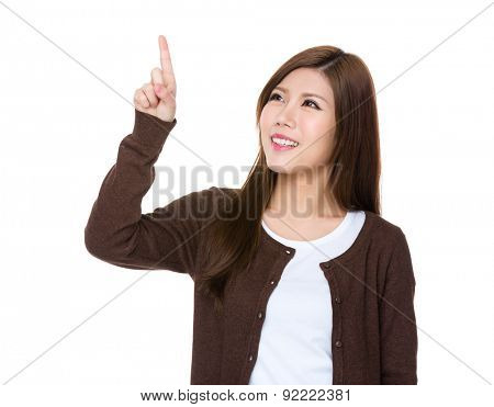 Young woman hand touch the imaginary button