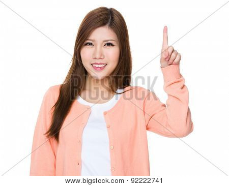 Asian woman with finger pointing upwards