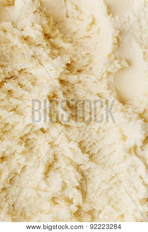 Texture from homemade vanilla ice cream from above as background