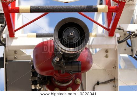 Close up of a water nozzle on a Fire Truck