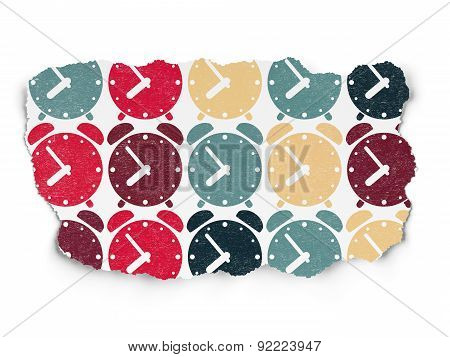 Time concept: Alarm Clock icons on Torn Paper background