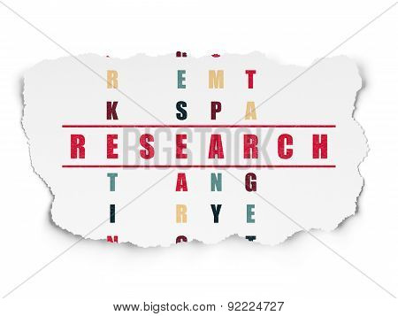 Marketing concept: word Research in solving Crossword Puzzle