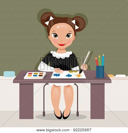 Girl On The Drawing Lesson. Vector Illustration