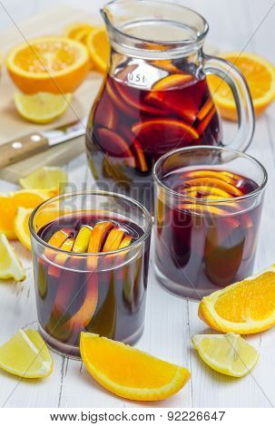 Red Wine Sangria With Oranges And Lemons