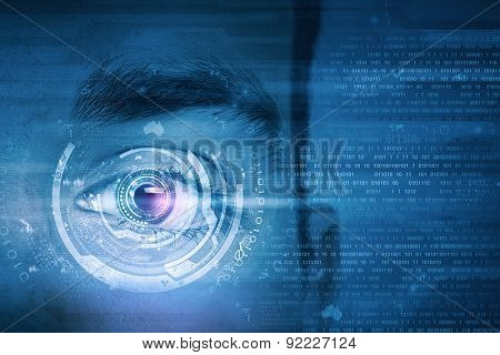 Close up of male digital eye with security scanning concept