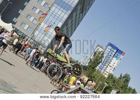 Bmx Cyclist Performs A Stunt Jump