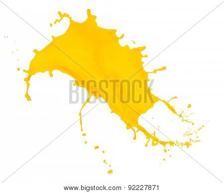 yellow paint splash isolated on white background