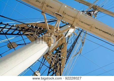 View Into The Masts And Rigging Of An Old Tall Ship