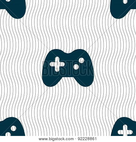 Joystick Icon Sign. Seamless Pattern With Geometric Texture. Vector