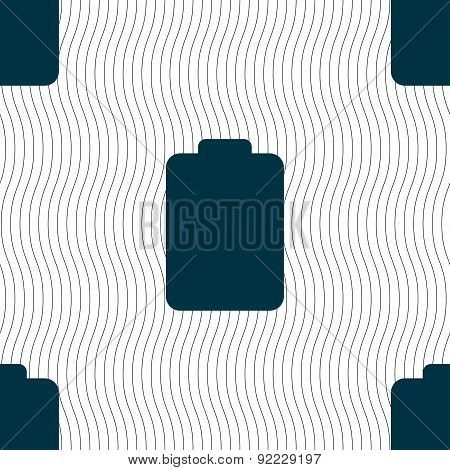 Battery Empty, Low Electricity Icon Sign. Seamless Pattern With Geometric Texture. Vector
