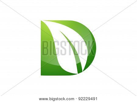 Leaf, plant, logo, letter d, botany ecology nature design vector