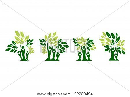 Family tree logo, family care, parenting tree health education, set symbol icon design vector