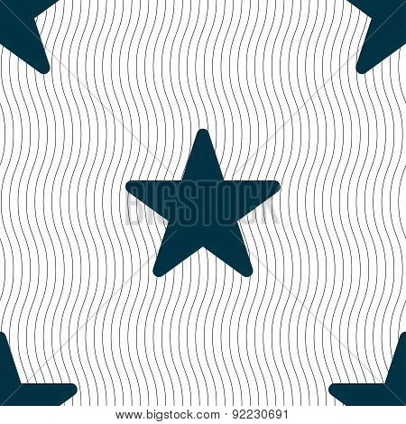 Favorite Star Icon Sign. Seamless Pattern With Geometric Texture. Vector
