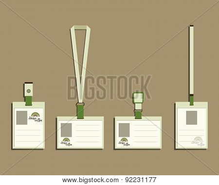 Brand identity elements - Lanyard, name tag holder and badge templates. For cafe, restaurant and oth