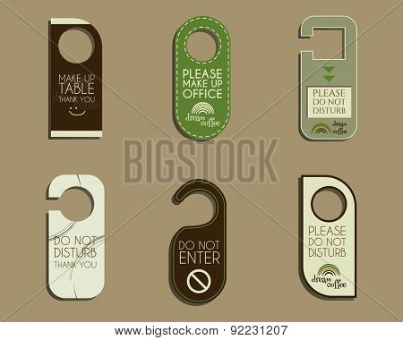 Brand identity elements- Door knob or hanger sign set- do not disturb design. For cafe, restaurant a