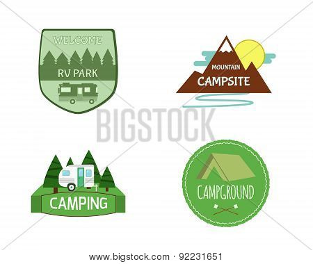 Set of Adventure Outdoor  Activity Tourism Travel Logo Vintage Labels design template. RV, forest ho