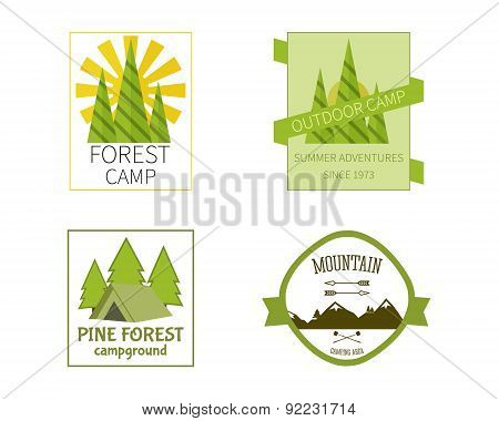 Outdoor Activity Travel Logo Vintage Labels design template. Forest holiday park, campground and cam