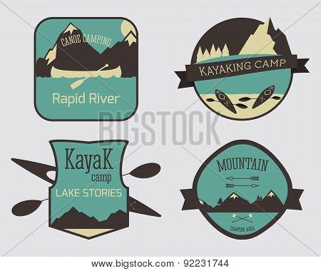 Set of Kayaking campsite logo templates. Outdoor Activity Travel Logo Vintage Labels design. Canoein