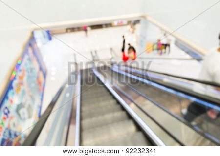 Unfocused view of shopping mall from escalator