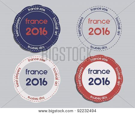 Brand identity elements - logo templates and badges. France 2016 Football. The national colors of Fr