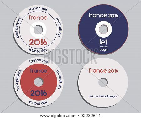 Brand identity elements - CD, DVD templates. sign, icon. Compact, disc, symbol. France 2016 Football