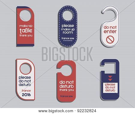 Brand identity elements- Door knob or hanger sign set- do not disturb design. Corporate branding. Fr