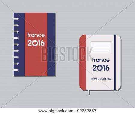 Corporate identity template design. Corporate branding. France 2016 Football. The national colors of