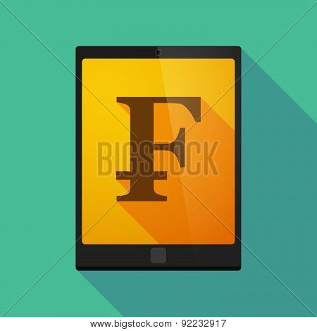 Tablet Pc Icon With A Swiss Franc Sign