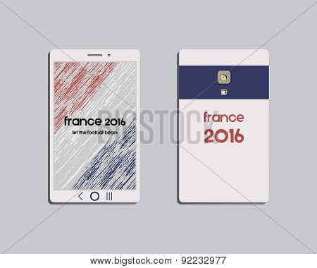 Corporate identity template design. Mobile device and smartphone. Corporate branding. France 2016 Fo