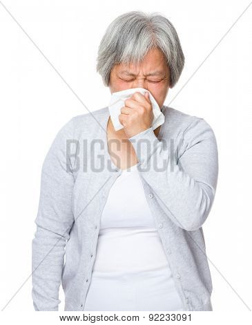 Asian old woman feeling sick