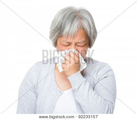 Mature woman runny nose