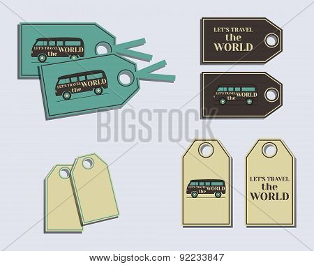 Travel and Camping brand identity labels - stickers. Rv park and campground. Triangle abstract style