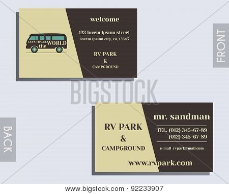 Travel and Camping visiting card design Layout template. Rv park and campground. Triangle abstract s