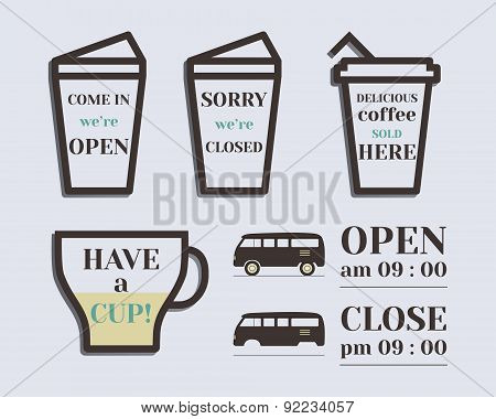 Coffee signs. Open and Closed elements. Rv park and campground. Retro and Vintage colors design. Iso