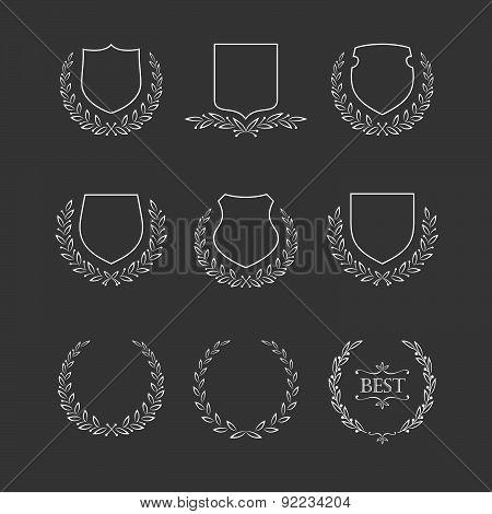 Set Of Badges And Laurel Wreaths.