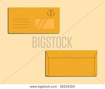 Happy Fathers Day envelope template with tie elements Best for thematic party. Isolated on bright ba